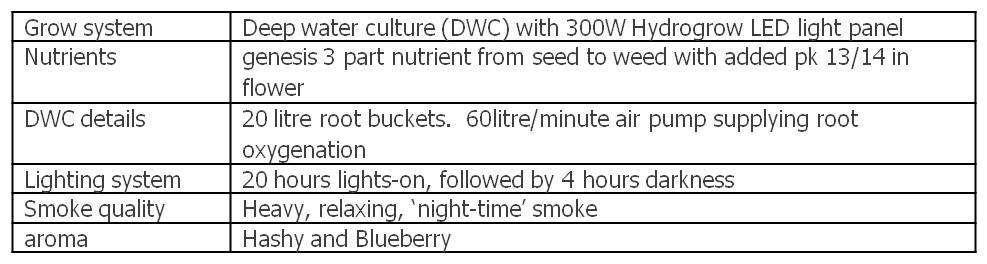 data table summary of grow