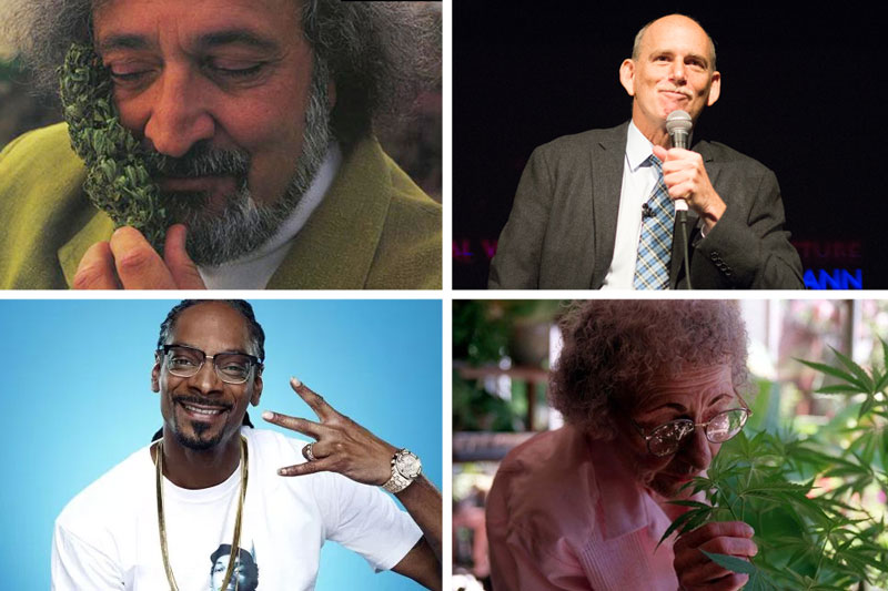Cannabis activists Jack Herer, Ethan Nadelmann, Mary Jane Rathbun and Snoop Dogg.