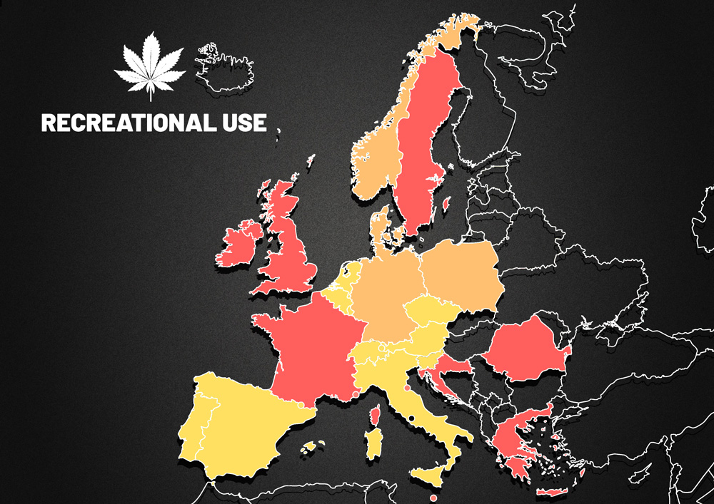 European map about cannabis situation