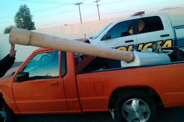 mexican cannon built to shoot pot parcels over border fence