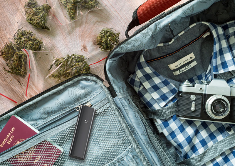 Packing suitcase for travel with cannabis